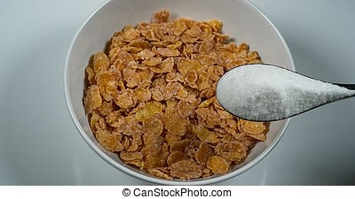 Sugar Poured on a Bowl of Cereals, Slow motion