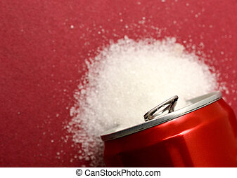 sugar pouring out from alluminium can, health concept