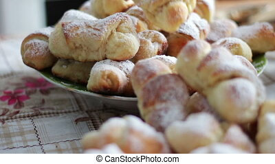Sugar powder croissants