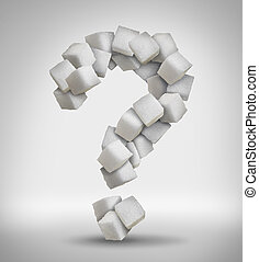 Sugar questions concept sweet food ingredient with a close up of a pile of delicious white lumps of cubes shaped as a question mark as a confusion symbol of diet health risks related to diabetes and calorie intake.