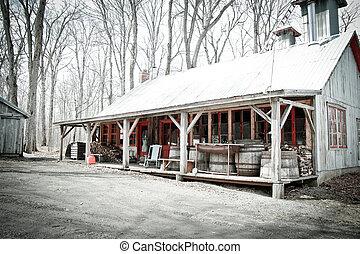 Sugar shack - Beautiful and aged sugar shack during spring...