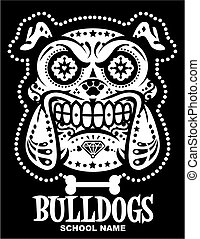 sugar skull bulldogs team design for school, college or ...