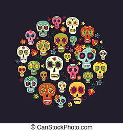 Sugar skull composition in the form of a circle -...