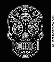 Day Of The Dead Skull Sugar Flower Tattoo Vector Illustration Day