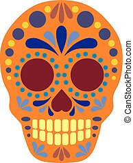 Sugar Skull flat - Holy Death, Day of the Dead, mexican...