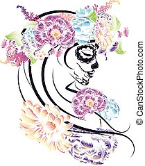 Sugar Skull Girl in Flower Crown - Day of the Dead ...