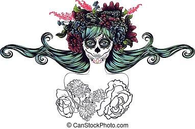 Sugar Skull Girl in Flower Crown - Day of the Dead ...