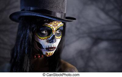 Sugar skull girl in tophat in the forest - Sugar skull girl...