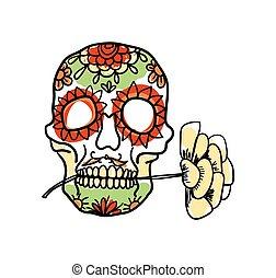 Sugar skull hand drawn icon
