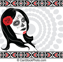 Sugar Skull Lady - Vector of Sugar Skull Lady with face...