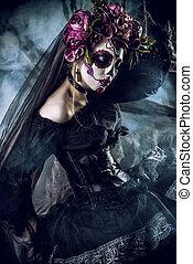sugar skull makeup - Calavera Catrina in black dress over...