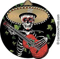 Sugar skull playing on Spanish guitar