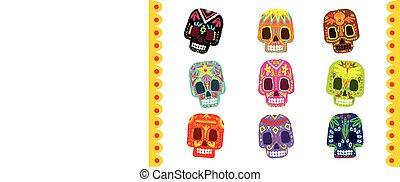 Sugar skull set, Day Of The Dead traditional design element vector Illustration
