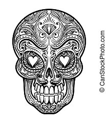 Sugar skull tattoo illustration