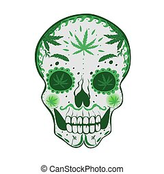 Sugar skull with cannabis Isolated on a white background. Vector graphics