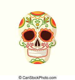 Sugar skull with floral ornament, symbol of Mexico vector Illustration on a white background