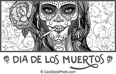 sugar skull woman - woman with sugar skull makeup, day of ...