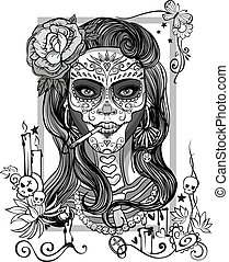 sugar skull woman - woman with sugar skull makeup, day of...