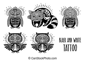 Sugar skulls black and white. Tattoo vector illustration