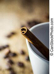Sugar Stick Cinnamon in white cup coffee