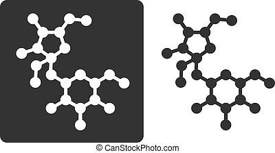 Sugar (sucrose, saccharose) molecule, flat icon style....