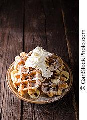 Sugar waffles product photo, food photography, food stock, ...