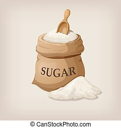 Sugar with scoop in burlap sack. Vector illustration