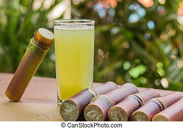 Sugarcane juice with piece of sugarcane on wooden background. Close up, Select focus.