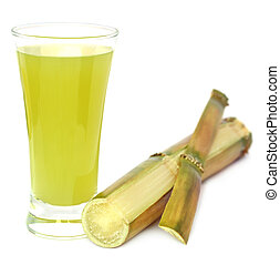 Sugarcane with juice in a glass