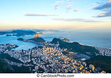 sugarloaf 山, パノラマである, リオ, 光景, corcovado, janeiro, de