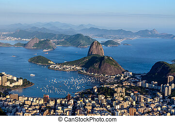 Sugarloaf, Botafogo Beach and Guanabara bay at sunset - One...