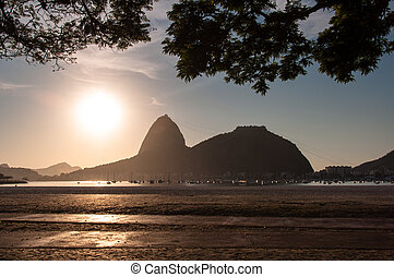 Sugarloaf Mountain by Sunrise - Silhouette of Sugarloaf...