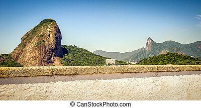 Sugarloaf Mountain from the terrace of a fort, Guanabara...