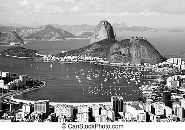 Sugarloaf mountain in Rio de Janeiro - High angle view of ...