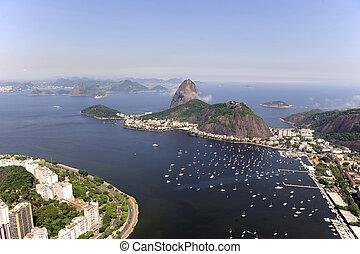 Sugarloaf Mountain in Rio de Janeiro - Aerial view of...
