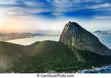 Sugarloaf mountain in Rio De Janeiro, aerial view