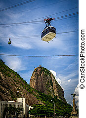 Sugarloaf Mountain - Overhead cable in motion with Sugarloaf...