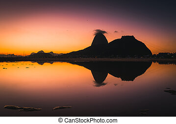 Sugarloaf Mountain With Reflection at Sunrise - View of the ...