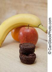 Sugary brownie dessert or fruit