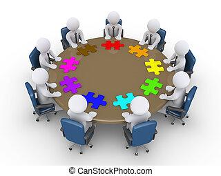 sugerir, diferente, reunión, hombres de negocios, soluciones