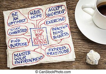sugestões, para, bem-estar