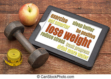 sugestões, -, peso, tabuleta, perder