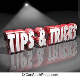 sugestões, truques, 3d, palavras, holofote, útil, como,...