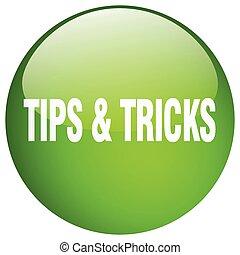 sugestões, &, truques, verde, redondo, gel, isolado, empurre...