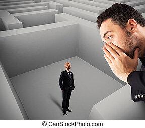 Man inside the maze hears a suggestion