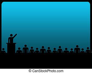 suggested, 概念, 黑色半面畫像, 力量, 給, 影響, 演說, 人類, 公眾