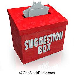 suggestie doos, ideeën, overgave, comments