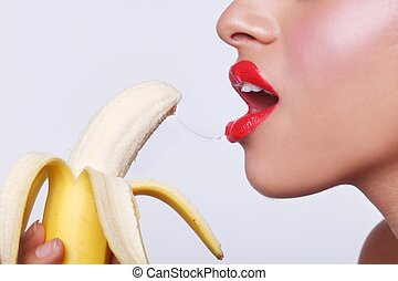 Sensual Woman Preparing to Eat a Banana - Suggestive Sensual...