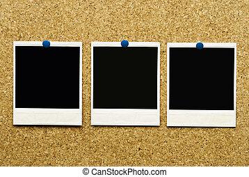 sughero, fondo, con, vuoto, blanks, di, polaroid