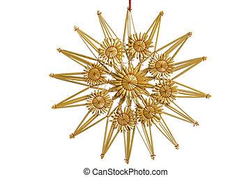 sugrör, dekoration, stjärna, jul